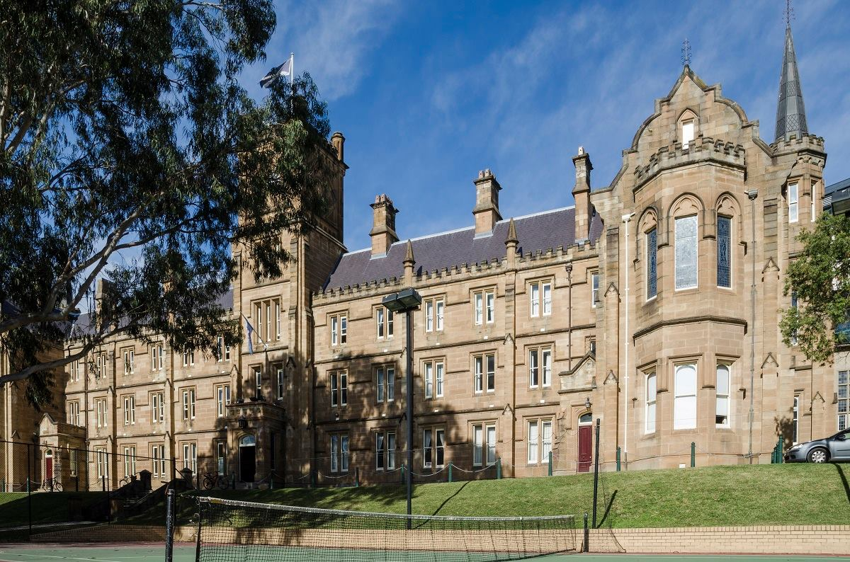 Main Building of St Andrew's College as seen from the College tennis courts.